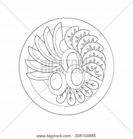 Black And White Line Art Icon. Isolated Vector Food Images. Vegetable Slices On A White Plate. Peele