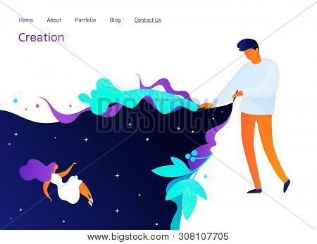 Landing Page Design With Painting Man, Website Template, Creation In Internet, Distance E-learning,
