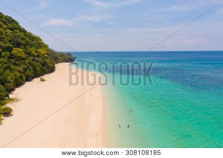 Puka Shell Beach. Wide Tropical Beach With White Sand. Beautiful White Beach And Azure Water On Bora