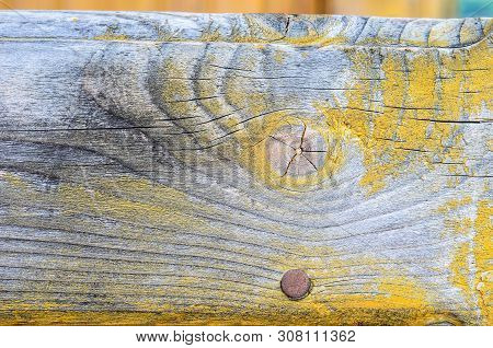 Yellow Painted Wood Texture Background. Shabby Chic Style. Old Rural Wooden Wall, Detailed Plank Pho