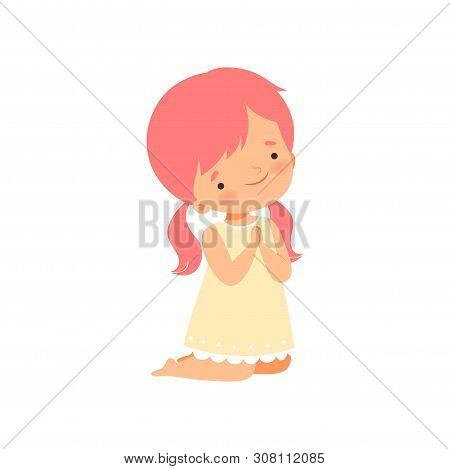 Little Girl Character Kneeling While Praying Cartoon Vector Illustration