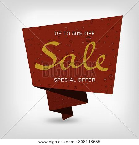 Banner Sales On Brown Background With Water Drops