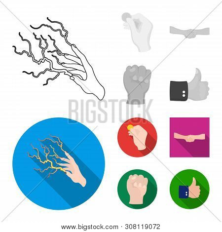 Vector Illustration Of Animated And Thumb Symbol. Set Of Animated And Gesture Stock Symbol For Web.