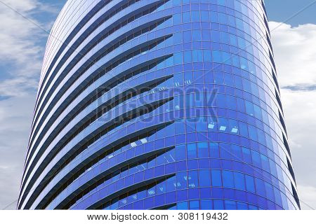 Modern Multi-storey Building On The Sky Background Balconies In The Building. Modern Apartment Build