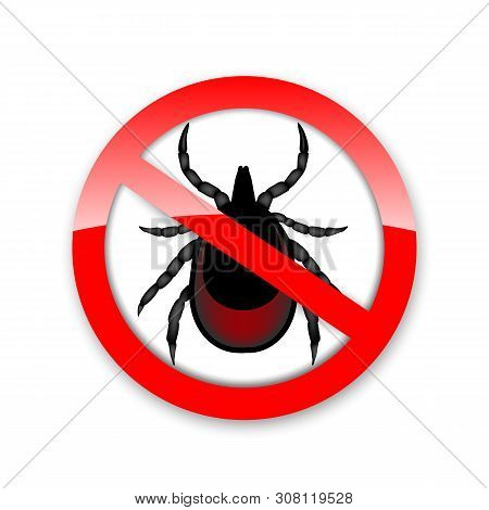 Ticks Stop Sign. Mite Warning Sign. Encephalitis Parasite Icon. Illustration Of Tick Warning Sign. B
