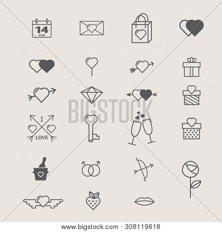 Valentines Day Icon Set - Love Concept Icons