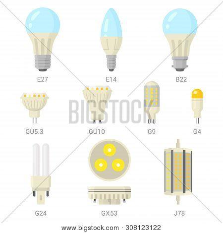 Led Light Lamp Bulbs Vector Colorful Icon Set