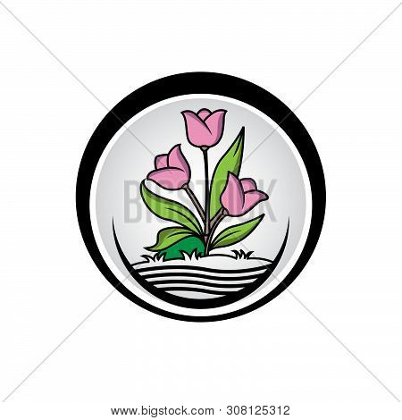 Graphical Flower Illustration. Black Flower, Contour Flower, Bloom Flower, Decorative Flower, Isolat