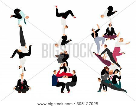 Business Human Pyramid. Team Work Success Concept With Miniature People, Successful Corporate Crowd
