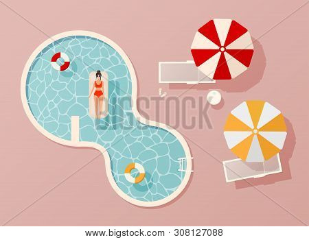 Woman In Swim Suit Lying On Floating Swimming Pool Mattress. Summer Pool Party Invitation Design. Fl