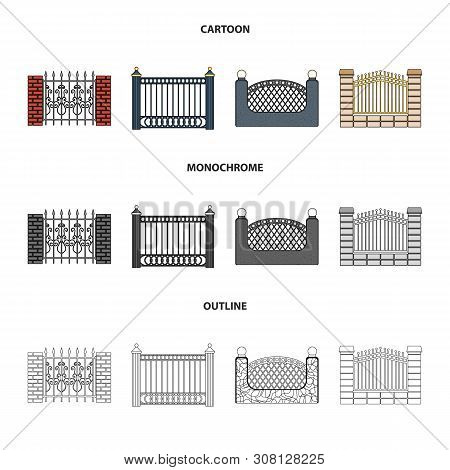 Vector Design Of Gate And Fence Logo. Set Of Gate And Wall Stock Vector Illustration.