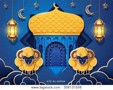 Eid al-adha arab calligraphy. Holiday greeting card or Eid-Bakrid islamic banner. Festival of sacrifice or Greater Eid celebration background with paper mosque and sheeps, lantern and crescent. Muslim poster