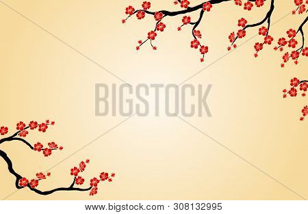 The Background Cherry Branch On Beige Horizontal