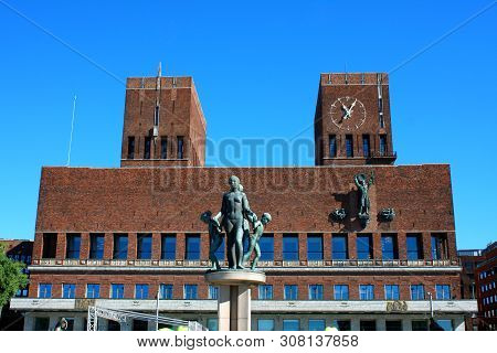 Oslo, Norway: May 1, 2019 - View On Oslo City Hall (radhuset On Norwegian) In Oslo, Norway During Su