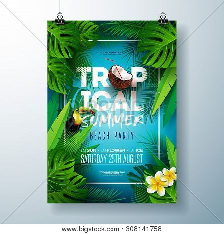 Tropical Summer Beach Party Flyer Design With Flower, Coconut, Palm Leaves And Toucan Bird On Blue B