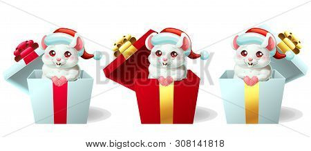 Set Cute White And Pink Mouse In Box With Cap