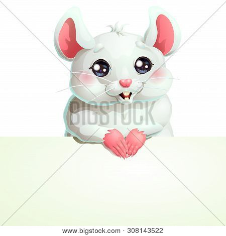 White Mouse With Black Eyes And Banner