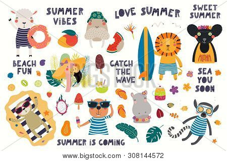 Big Summer Set With Cute Animals, Quotes, Fruits, Drinks, Pool Floats. Isolated Objects On White Bac