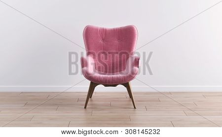 Fashionable Modern Pink Armchair With Wooden Legs Against A White Wall In The Interior. Furniture, I