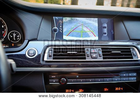Grodno, Belarus, May 16, 2013: Interior Of Premium Car With Rearview Camera Dynamic Trajectory Turni