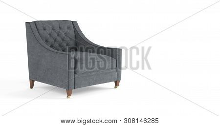 Classic Modern Gray Armchair With Wooden Legs, Quilted Back Isolated On White Background. Furniture,
