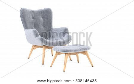 Fashionable Modern Gray Armchair With Wooden Legs, Ottoman Isolated On White Background. Furniture,