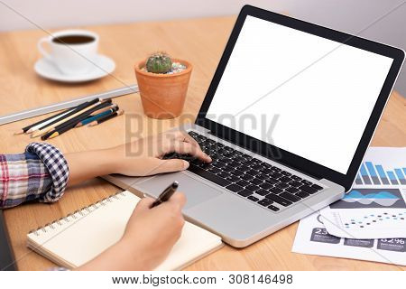 Online Learning Course Concept. Student Using Computer Laptop With White Blank Screen For Training O