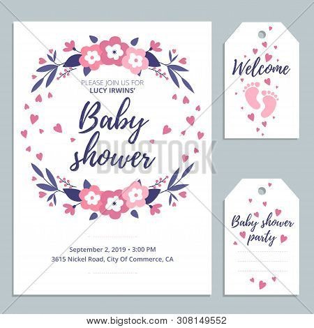 Welcome Baby Cute Card Invitation With Lettering And Baby Footprints. Baby Shower Card Design. Vecto