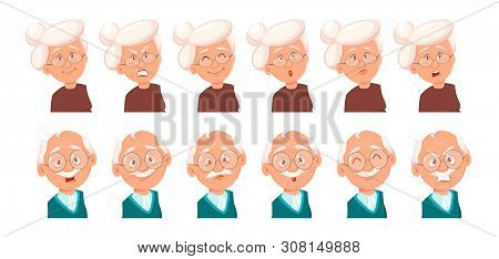 Face Expressions Of Grandfather And Grandmother. Set Of Emotions Of Old Man And Woman. Vector Illust