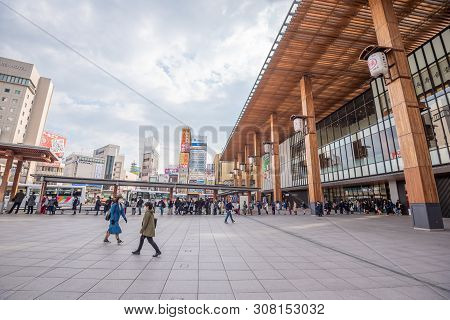 Nagano , Japan -april 19 ,2019 : View Of Nagano Station (nagano-eki), A Railway Station In Nagano Ci
