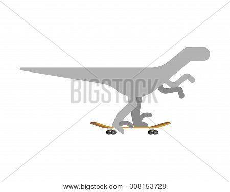 Velociraptor On Skateboard. Dino Skateboarder. Prehistoric Lizard Monster Riding Longboard