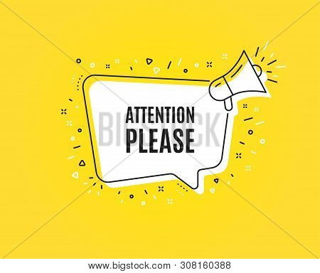 Attention Please. Megaphone Banner. Special Offer Sign. Important Information Symbol. Loudspeaker Wi