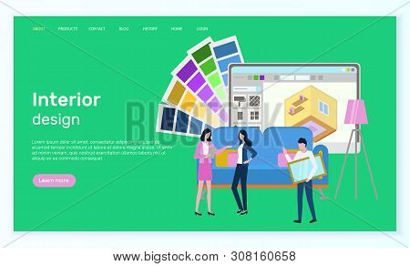 Interior Design Vector, People With Application For Building And Construction Of New Apartments, Des