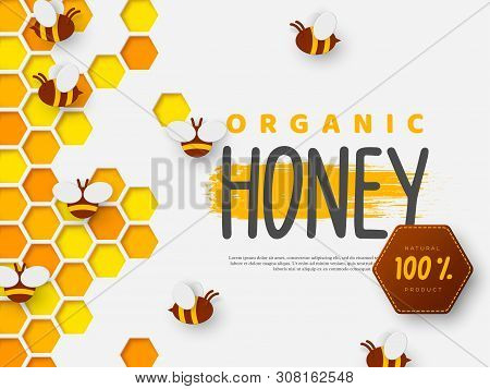 Paper Cut Style Bee With Honeycomb. Typographic Design For Beekeeping And Honey Product. Vector Illu