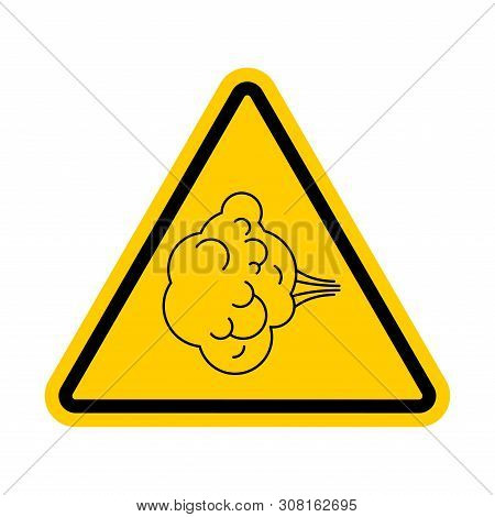 Attention Fart. Warning Yellow Road Sign. Caution Farting
