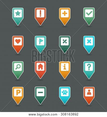 Pin Map Icon Set. Map Pointer. Map Markers. Destination Vector Icon. Gps Location Symbol. Mapping Pi