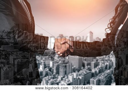 Double Exposure Image Of Business And Finance.