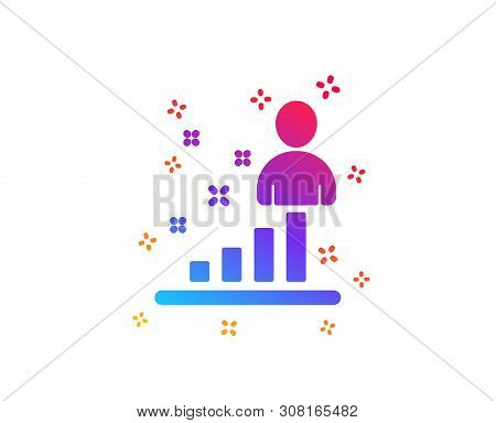 Stats icon. Business management sign. Best employee symbol. Dynamic shapes. Gradient design stats icon. Classic style. Vector poster