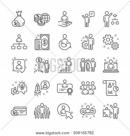 Management Line Icons. Set Of Startup Strategy, Business Audit And Employee Icons. Business Strategy