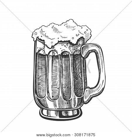 Hand Drawn Mug With Froth Bubble Light Beer Vector. Full Mug With Handle And Foam Alcoholic Frosty B