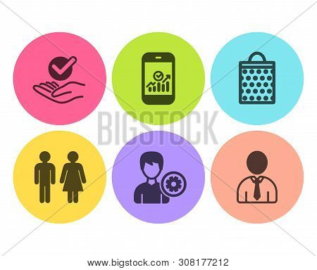 Restroom, Shopping Bag And Smartphone Statistics Icons Simple Set. Approved, Support And Human Signs
