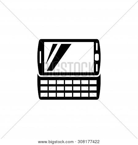 Pda Handheld Computer. Flat Vector Icon Illustration. Simple Black Symbol On White Background. Pda H