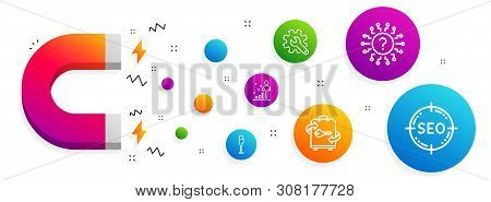 Magnet attracting. Stats, Champagne glass and Customisation icons simple set. Question mark, Luggage and Seo signs. Business analysis, Winery. Line stats icon. Editable stroke. Vector poster