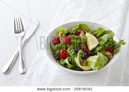 Salad With Cutlery And Linen
