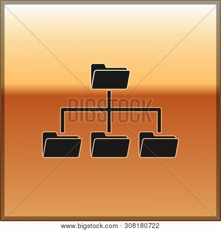 Black Folder Tree Icon Isolated On Gold Background. Computer Network File Folder Organization Struct