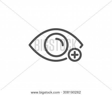 Farsightedness Line Icon. Eye Diopter Sign. Optometry Vision Symbol. Quality Design Element. Linear