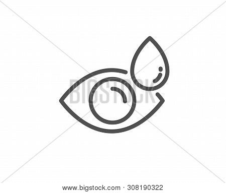 Eye Drops Line Icon. Oculist Clinic Sign. Optometry Vision Symbol. Quality Design Element. Linear St