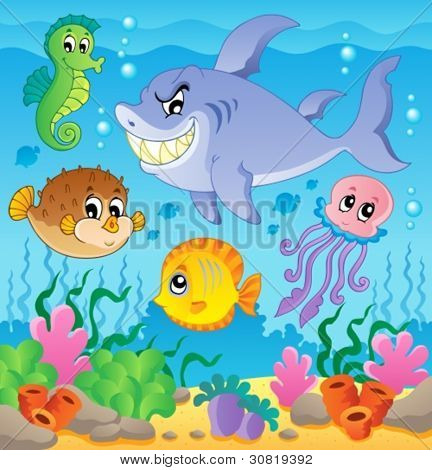 Image with undersea theme 3 - vector illustration.
