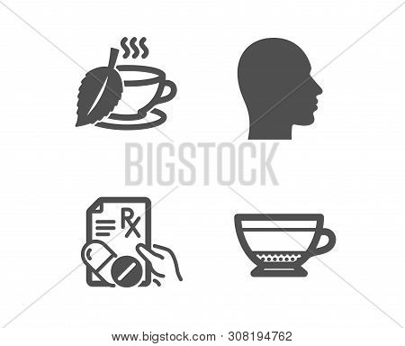 Set Of Head, Mint Tea And Prescription Drugs Icons. Dry Cappuccino Sign. Human Profile, Mentha Bever
