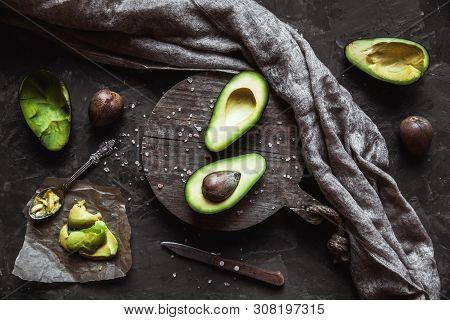 Avocado. Healthy Food On The Table. Rustic Board.
